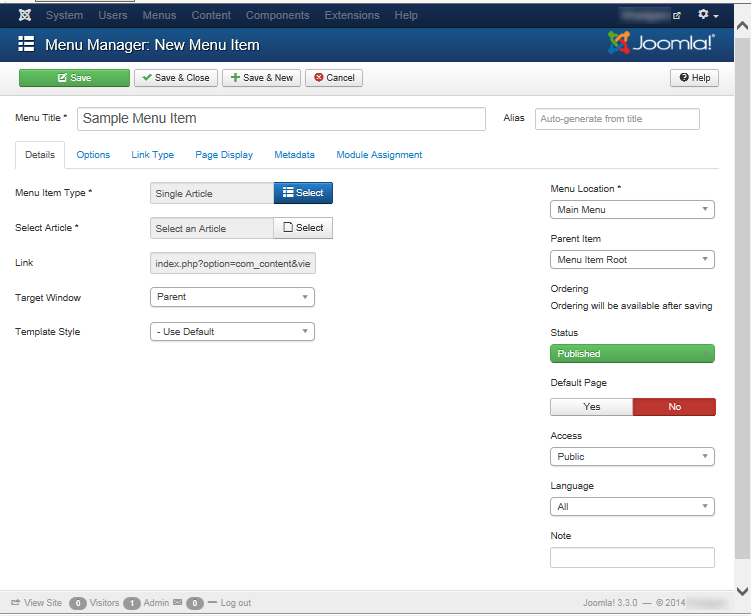 "Joomla 3 - ""Menu Manager: New Menu Item"" titled ""Sample Menu Item"""