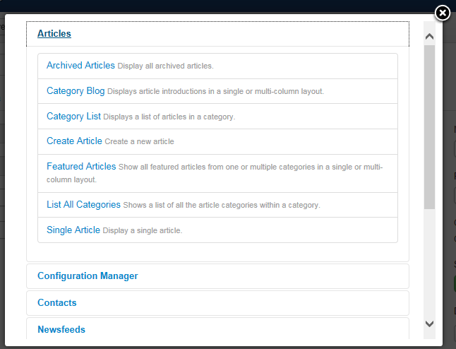 "Joomla 3 - ""Menu Manager"" - Select Menu Item Type"