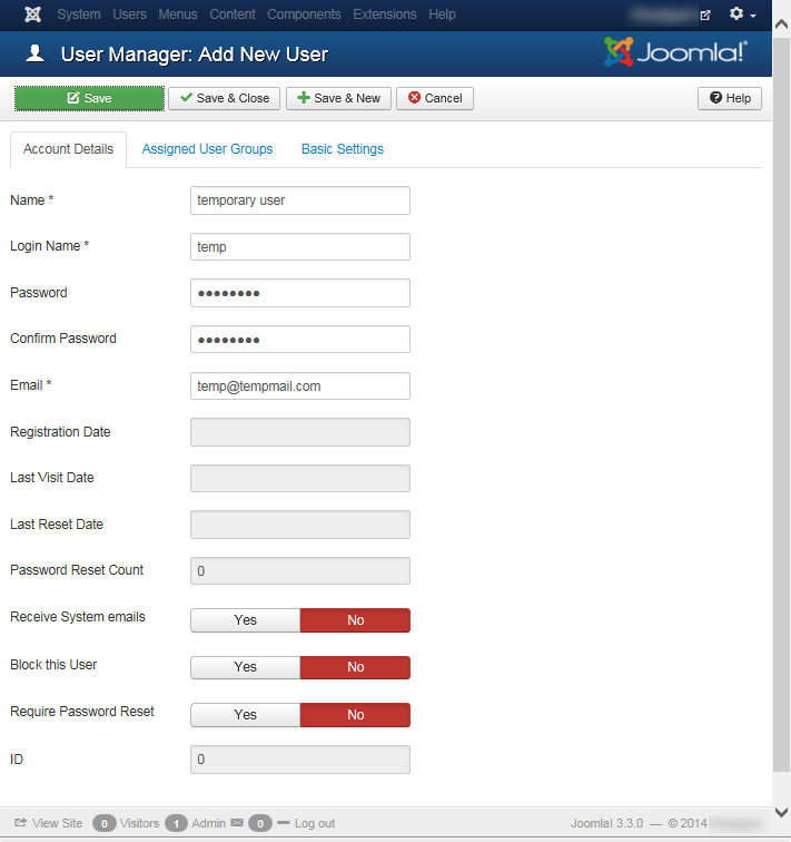 """Joomla 3 - """"User Manager: Add New User"""" page"""