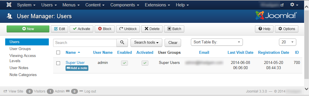"""Joomla 3 - """"User Manager: Users"""" page"""