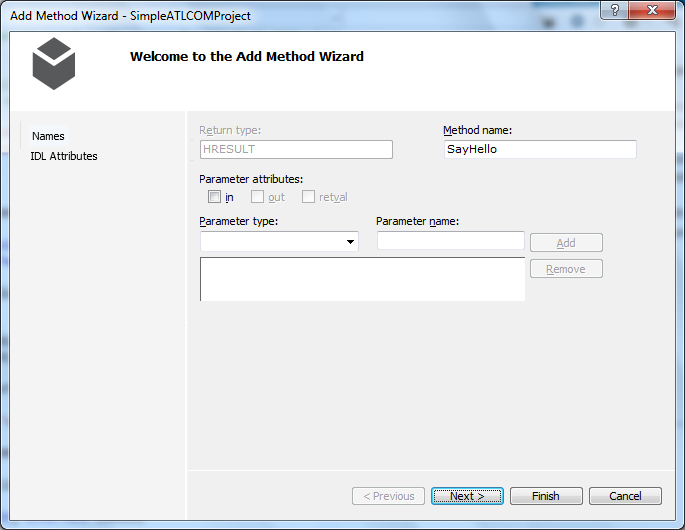 "Visual Studio 2012 - ""Add Method Wizard"" - ""Names"" wizard"