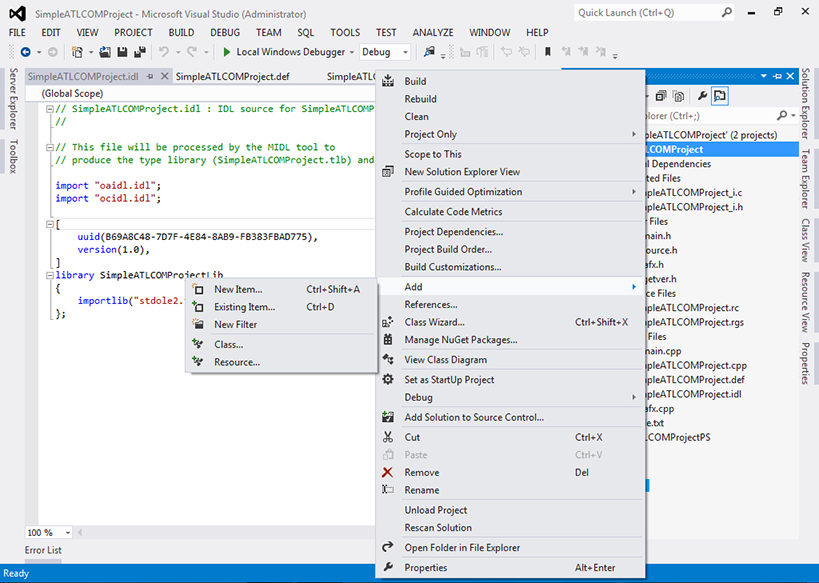 "Visual Studio 2012 - ""ATL COM Project"" - ""Solution Explorer"" - ""Add"" - Sub menu"