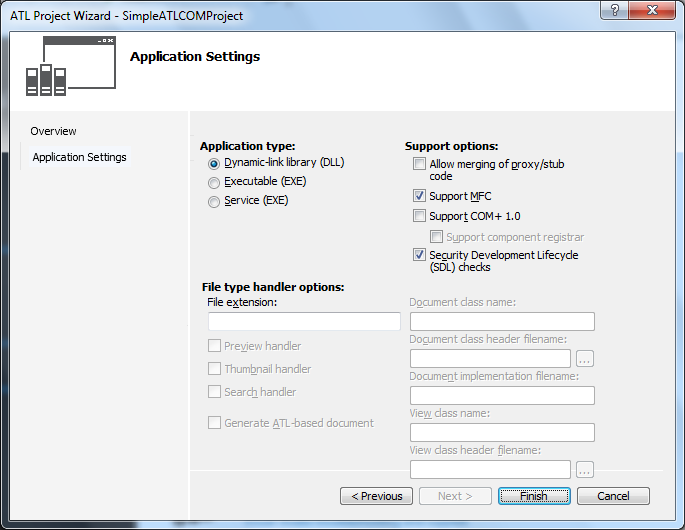 "Visual Studio 2012 - ""ATL Project Wizard"" - ""Application Settings"" wizard"