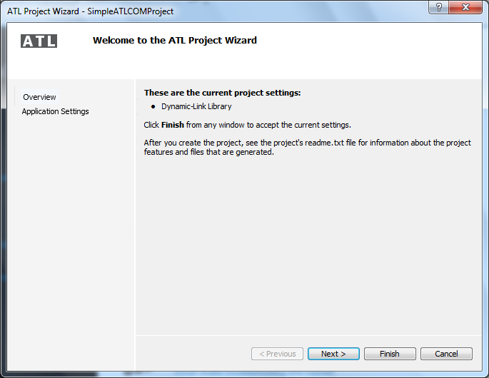 "Visual Studio 2012 - ""ATL Project Wizard"" - Overview wizard"