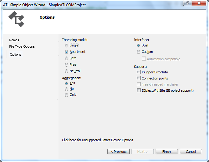 "Visual Studio 2012 - ""ATL Simple Object Wizard"" - ""Options"""