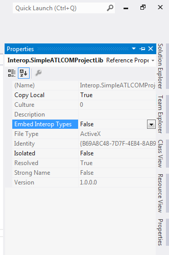 Visual Studio 2012 - properties for COM Component Reference properties