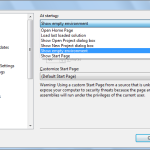 "Visual Studio 2012 - Options dialog - ""Show empty environment"""