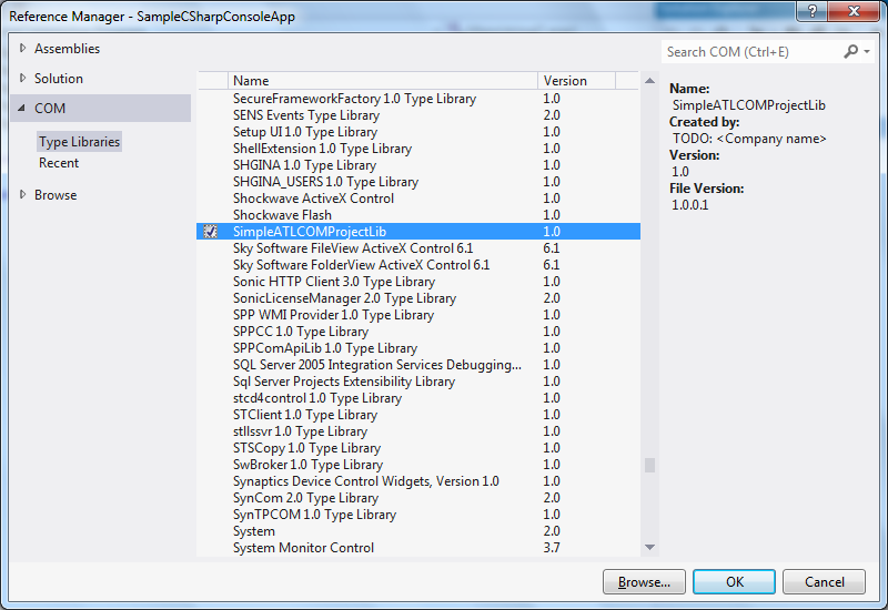 """Visual Studio 2012 - """"Reference Manager"""" dialog"""