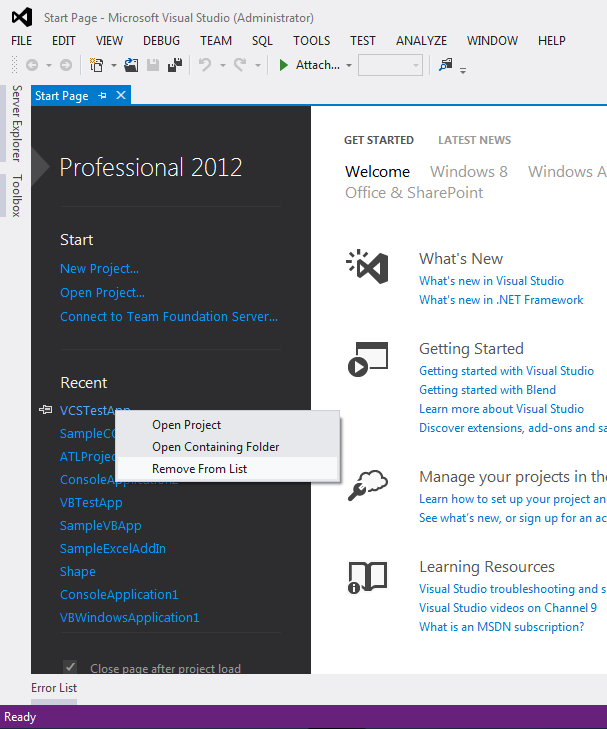 """Visual Studio 2012 - Remove """"Recent Items"""" from """"Start Page"""""""