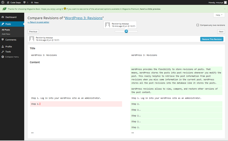 WordPress 3 - Browse Revisions