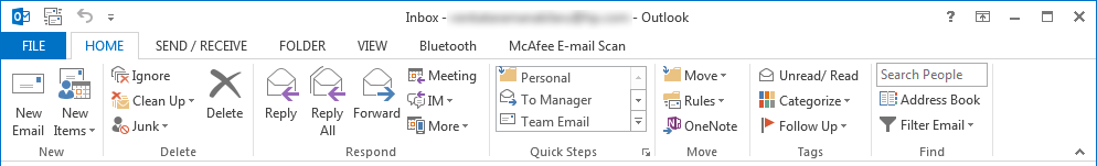 Microsoft Outlook 2013 - Main Menu