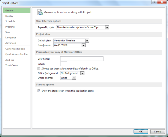Microsoft Project 2013 - Project Options dialog