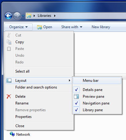 Windows Explorer - Organize - Layout menu
