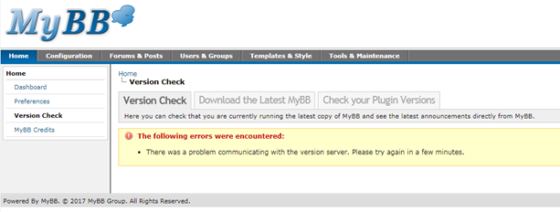 MyBB Version Check error