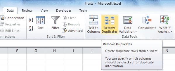 Excel - Remove duplicates