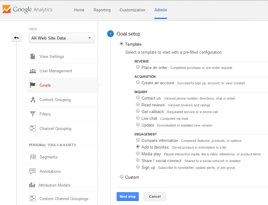 Google Analytics - Goals - Goal setup