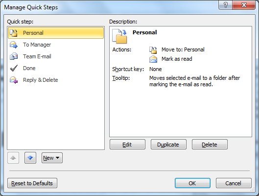 """Microsoft Outlook - """"Manage Quick Steps"""" dialog"""