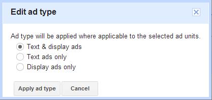 "Google AdSense - ""Edit ad type"" dialog"