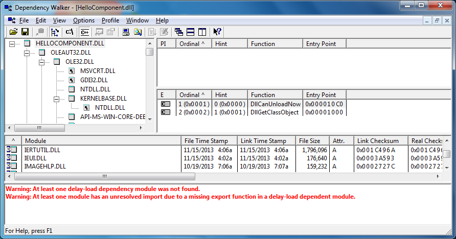 DLL with exported functions showing in Microsoft's Dependency Walker Tool