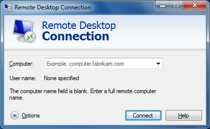 "Windows - ""Remote Desktop Connection"" application"