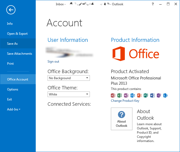 Microsoft Outlook 2013 - Account Information pane