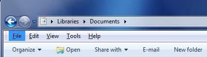 Windows Explorer - Menu bar