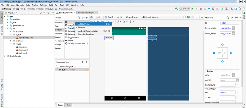 Android Programming Create An Activity And Add A Button Handler Codesteps