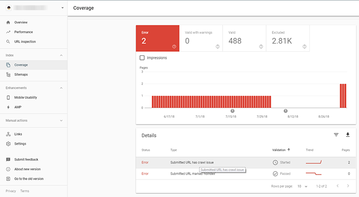Google Search Console - New Coverage issue detected for site - CodeSteps