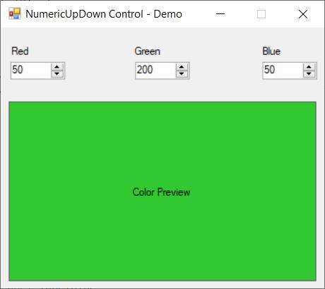 NumericUpDown control - demo