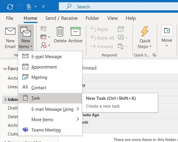 Microsoft Outlook - Create a new Task