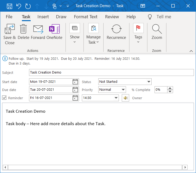 Microsoft Outlook Task window